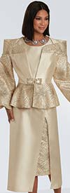Donna Vinci 5717 - Womens Church Suit With Puff Sleeve Peplum Jacket And Layered Inset Skirt