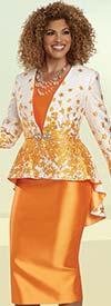 Donna Vinci 5718 - Womens Skirt Suit With Floral Design 3-D Novelty Fabric High-Low Jacket