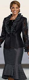 Donna Vinci 5720 - Flounce Skirt Suit With Ruffle Trimmed Jacket In Polka Dot Patten Design