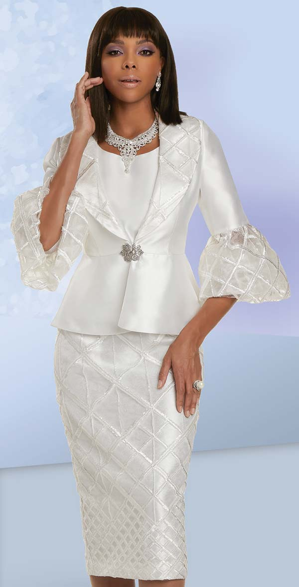 Donna Vinci 5721 - Womens Skirt Suit With Grid Pattern Trimmed Bell Cuff Shawl Lapel Jacket