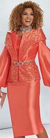 Donna Vinci 5722 - Womens Silk Look Church Suit With Soutache Trimmed Shoulder Detail Puff Sleeve Jacket
