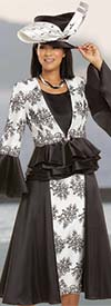 Donna Vinci 5723 - Floral Embroidery Design Skirt Suit With Flounce Cuff Peplum Jacket