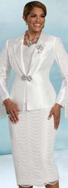 Donna Vinci 5724 - Three Piece Skirt Suit In Scalloped Lace Design With Cape Sleeve Jacket