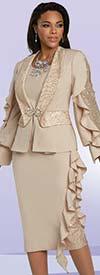 Donna Vinci 5726 - Rhinestone Embellished Three Piece Peach Skin Skirt Suit With Organza Ruffle Trim