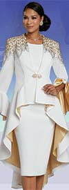 Donna Vinci 5727 - Gold Rhinestone Embellished Peach Skin Skirt Suit With High-Low Style Flounce Cuff Jacket