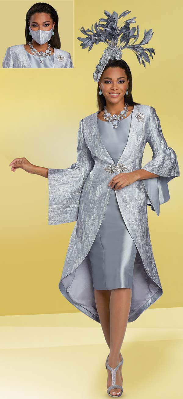 Donna Vinci 5728 - Womens Church Dress With High-Low Split Bell Cuff Jacket In 3-D Effect Textured Fabric