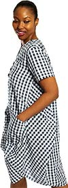 Dubgee 3027-Black/White - Short Sleeve Cocoon Style V-Neck Dress With Pockets In Gingham Print