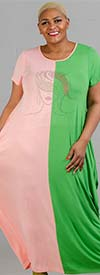 KaraChic CHH20050-PinkGreen - Womens Bubble Style Knit Dress With Multi-Color Embellished Face Design