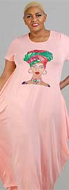 KaraChic CHH20052-Pink - Womens Bubble Style Knit Dress With Headwrap Face Print Design
