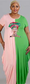 KaraChic CHH20052-Pink/Green - Womens Bubble Style Knit Dress With Headwrap Face Print Design