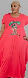 KaraChic CHH20052-Red - Womens Bubble Style Knit Dress With Headwrap Face Print Design
