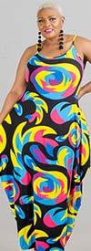 KaraChic CHH20058 - Multi-Color Print Design Sleeveless Knit Maxi Bubble Dress