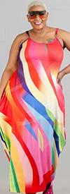 KaraChic CHH20059 - Sleeveless Knit Maxi Bubble Dress In Multi-Color Print Design