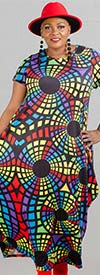 KaraChic CHH20061 - Short-Sleeve Multi-Color Print Design Knit Maxi Bubble Dress
