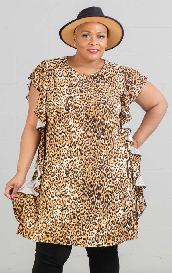 KaraChic CHH20062 - Ruffle Accernted Short Sleeve Dress In Animal Print