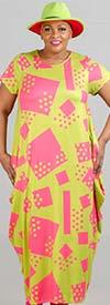KaraChic CHH20066 - Short-Sleeve Cube & Dot Print Knit Maxi Bubble Dress