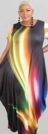 KaraChic CHH20069 - Short-Sleeve Multi-Color Print Knit Maxi Bubble Dress