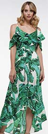 Why Dress-D190454 - Womens High-Low Ruffle Trimmed Cold Shoulder Dress In Botanical Print Design