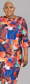 Capriana Couture CC2600 - Womens Bell Cuff Sleeve Chemise Dress In Geometric Print