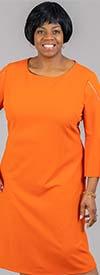Capriana Couture CC2639-Rust - Zipper Accented Three-Quarter Sleeve Womens Chemise Dress