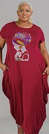 KaraChic CHH20023-Burgundy - Maxi Dress With Rhinestone Embellished Image