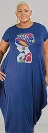 KaraChic CHH20023-Navy - Maxi Dress With Rhinestone Embellished Image