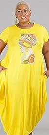KaraChic CHH20023-Yellow - Maxi Dress With Rhinestone Embellished Image