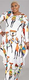 KaraChic CHH21022LS - Print Design Womens Long Sleeve Knit Maxi Dress
