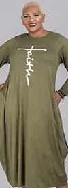 KaraChic CHH21092 - Faith Print Design Smocked Cuff Long Sleeve Knit Dress