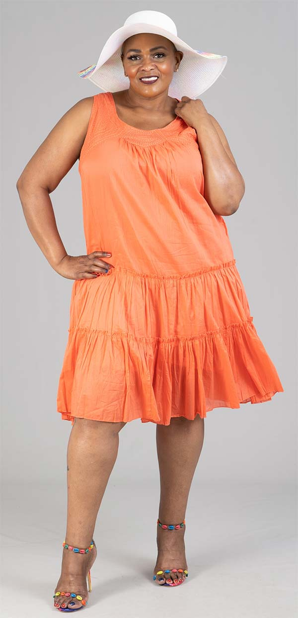 OSO Casuals 51075X22-Coral - Womens Tiered Gauze Design Sleeveless Dress