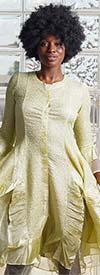 JerryT-SR113-Yellow - Long Sleeve Sheer Ruffle Hem Womens Duster Dress