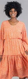 KarenT-8029-Orange - Pleated Midi Dress In Speckled Print With Gathered Cuff Sleeves