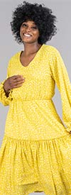 KarenT-8029-Yellow - Pleated Midi Dress In Speckled Print With Gathered Cuff Sleeves