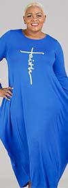 KaraChic CHH20022-Royal - Faith Print Design Womens Long Sleeve Knit Maxi Dress