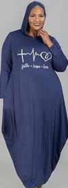 KaraChic CHH21046 - Faith Hope Love Print Design Womens Long Sleeve Knit Hoodie Dress