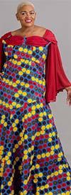 Amadyn 1902 - Womens Polka Dot Print Dress With Wing Sleeve Design