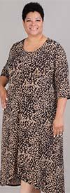 Anywhere 80423W - Scoop Neck Three-Quarter Sleeve Animal Print PlusSize Dress
