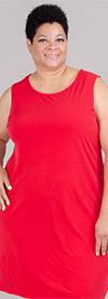 Catherines 80435W-Red - Womens Sleeveless Knit Dress With Round Neckline
