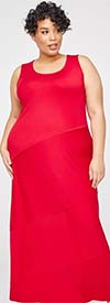 Catherines T80437W-Red -  PlusSize Maxi Dress With Scoop Neck Design