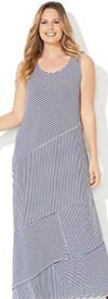 Catherines T80437W-White / Navy -  PlusSize Maxi Dress With Scoop Neck Design