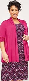 Catherines T80437WA-Pink Multi -  PlusSize Maxi Dress In Printed Pattern Design