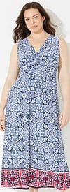 Catherines T80439W-Blue-White -Twist Knot V-Neckline Sleeveless Maxi Dress