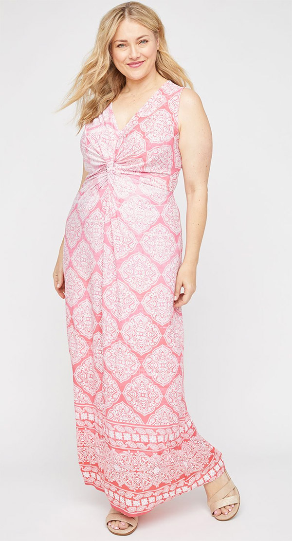 Catherines T80439W-Peach-White -Twist Knot V-Neckline Sleeveless Maxi Dress