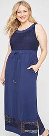 Catherines T80442W -  Womens Scoop Neck Maxi Dress With Venetian Crochet Overlay Design