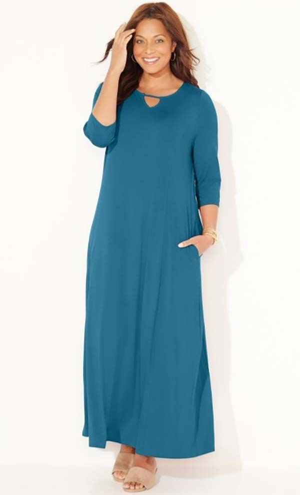 Catherines T80495W-Blue - Three-Quarter Sleeve PlusSize Maxi Dress With Keyhole Neckline And Pockets