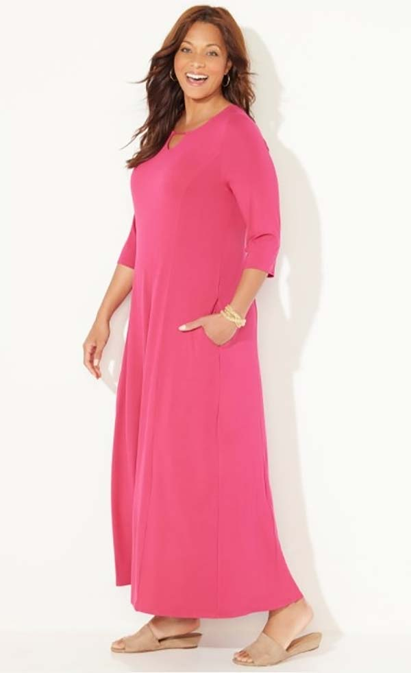 Catherines T80495W-Raspberry - Three-Quarter Sleeve PlusSize Maxi Dress With Keyhole Neckline And Pockets