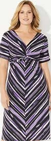 Catherines T80496WB - V-Neck Knot Front PlusSize Maxi Dress In Striped Print
