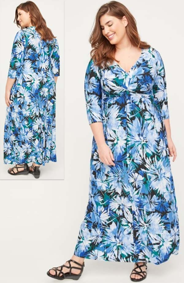 Catherines T80497W - Three-Quarter Sleeve PlusSize Maxi Dress In Floral Print