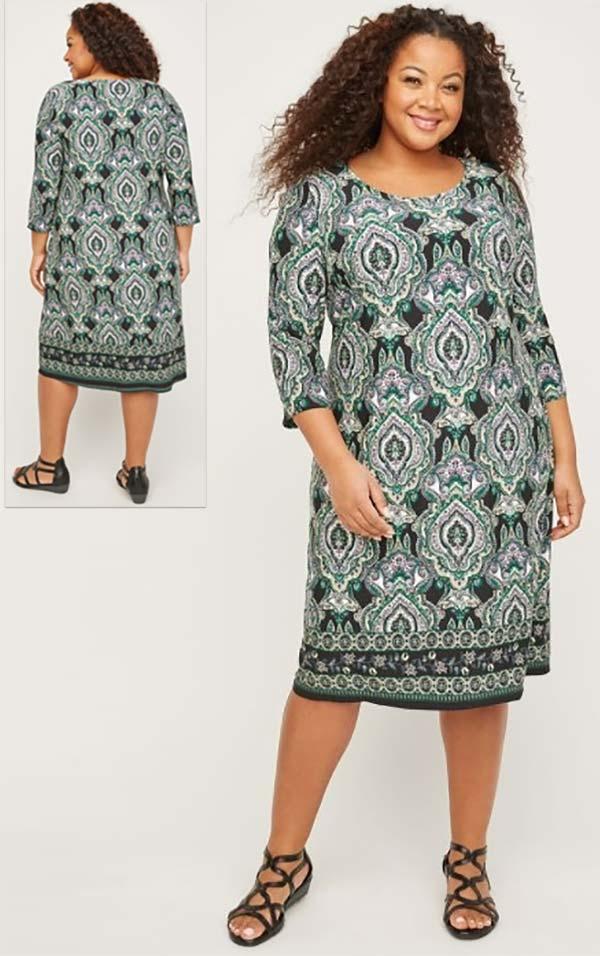 Catherines T80498WA - Scoop Neck Three-Quarter Sleeve PlusSize Maxi Dress In Print Design