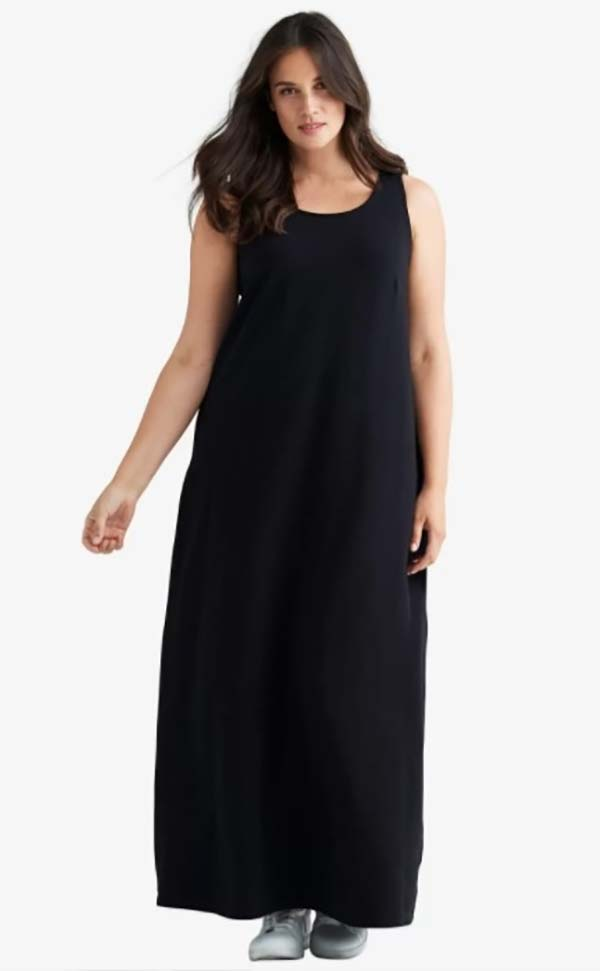 Catherines T80499W-Black - PlusSize Maxi Sleeveless Womens Dress In Woven Fabric